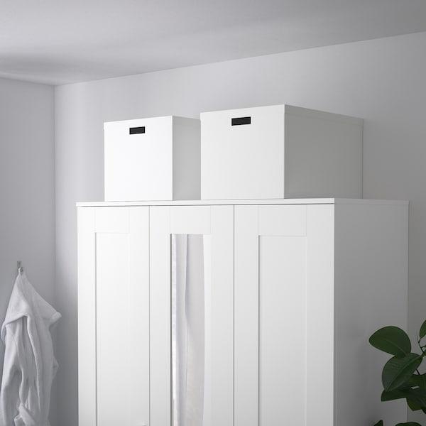 TJENA Caja con tapa, blanco, 35x50x30 cm