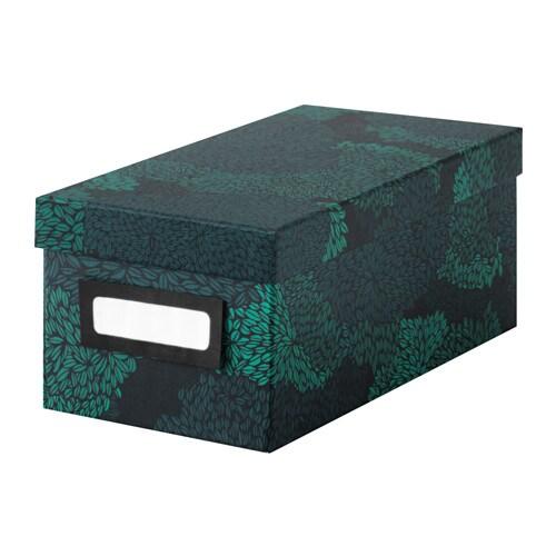 TJENA  - caixa + tapa, 13x26x10, negre-blau