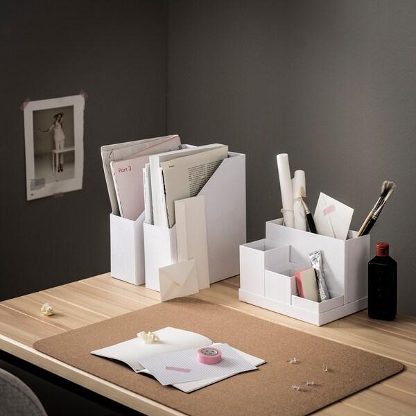 TJENA Organizador escritorio, blanco, 18x17 cm