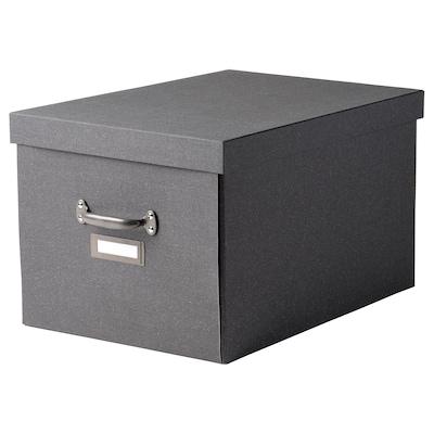TJOG Caja con tapa, gris oscuro, 35x56x30 cm
