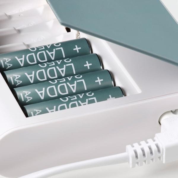 TJUGO Cargador pilas+caja, verde grisáceo