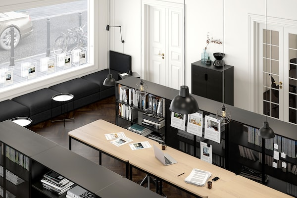 TOMMARYD Mesa, chapa roble tinte blanco/antracita, 130x70x105 cm