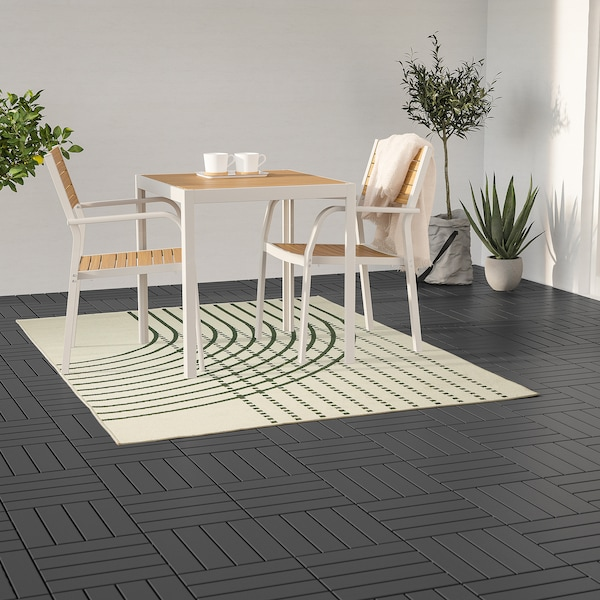 TÖMMERBY Alfombra int/exterior, verde oscuro/hueso, 160x230 cm