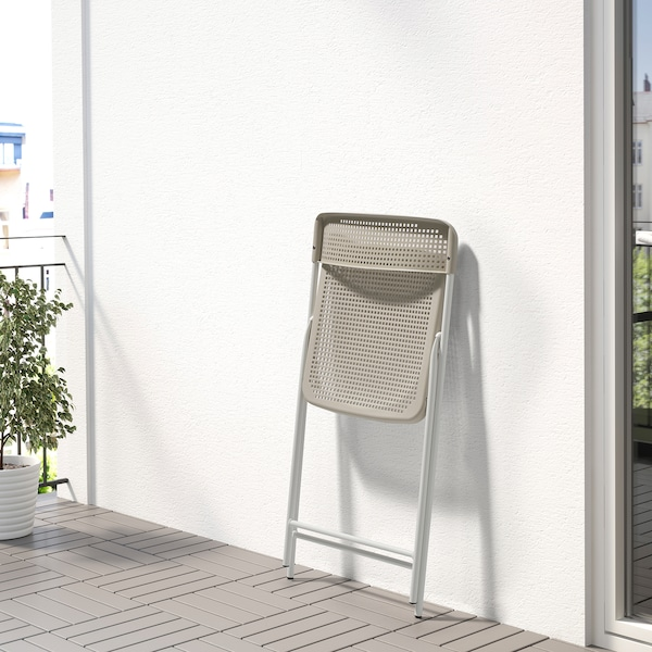 TORPARÖ Silla int/ext, plegable blanco/beige