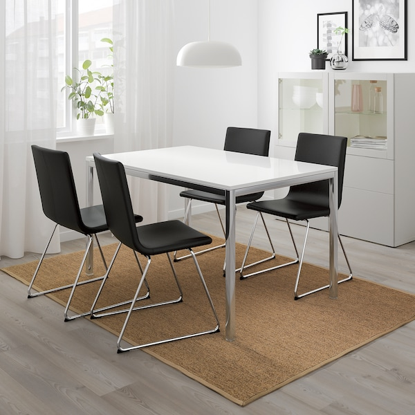 TORSBY Mesa, cromado/alto brillo blanco, 135x85 cm