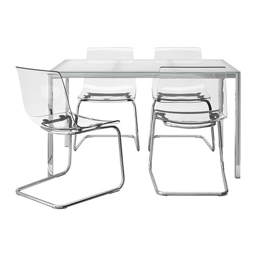 Mesa con 4 sillas, vidrio blanco, transparente