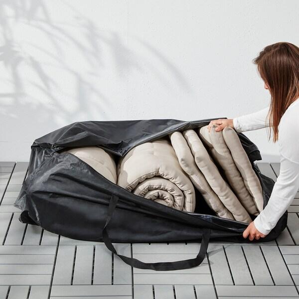 TOSTERÖ Bolsa para cojines, negro, 116x49 cm