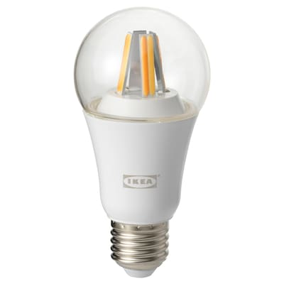 TRÅDFRI Bombilla LED E27 806 lúmenes, regulac lumin inalámbr espectro blanco/globo transparente