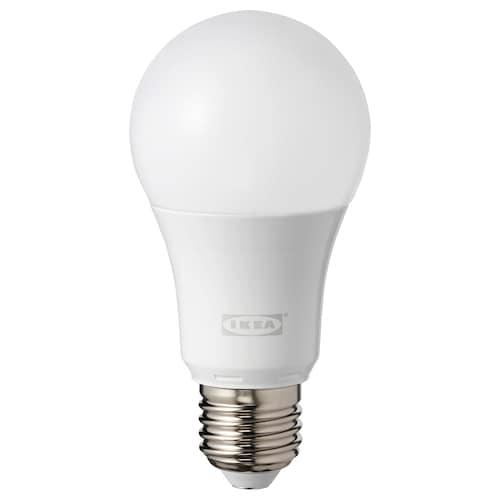 TRÅDFRI bombilla LED E27 600 lúmenes regulac lumin inalámbr color y espectro blanco/globo blanco ópalo 600 lm 2700 K 8.6 W