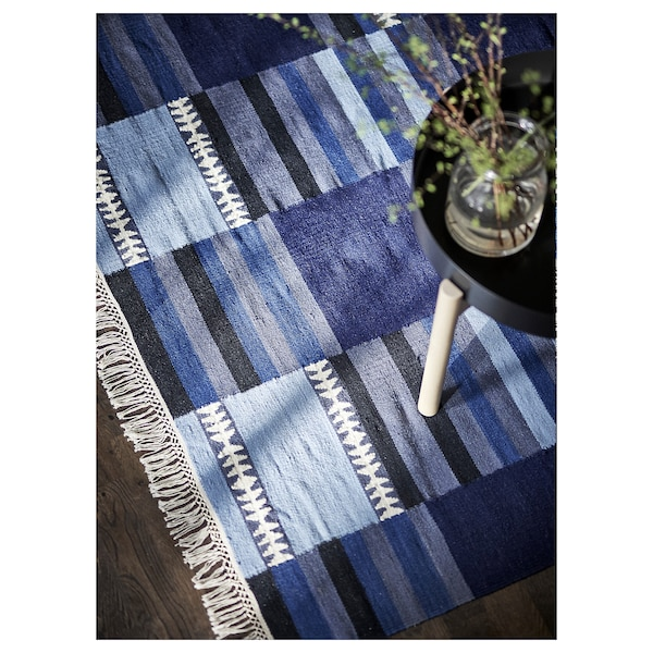 TRANGET Alfombra, a mano tonalidades de azul, 170x240 cm