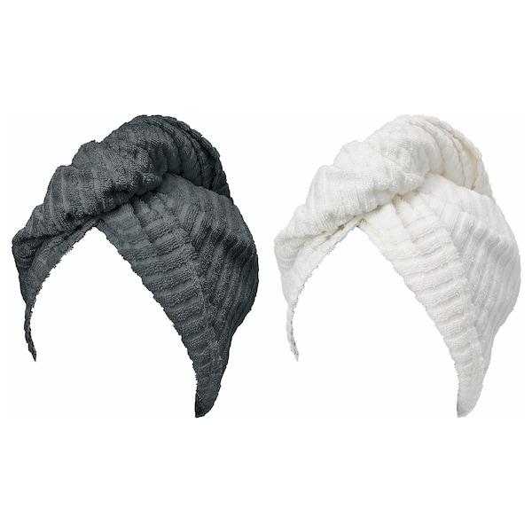 TRÄTTEN Toalla para el cabello, gris oscuro/blanco