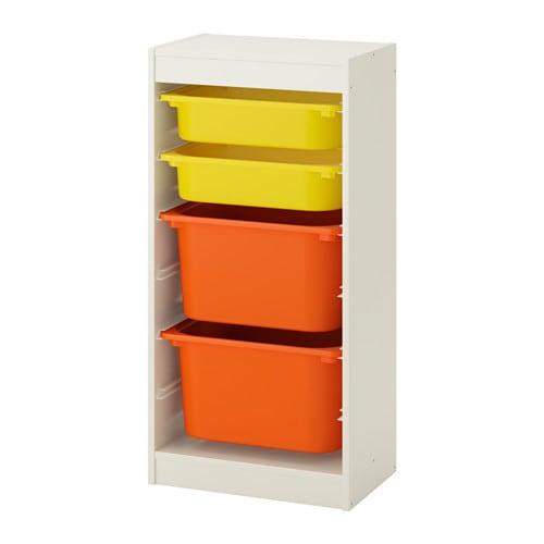 Trofast combinaci n de almacenaje con cajas blanco amarillo naranja 46 x 30 x 94 cm ikea - Muebles almacenaje bano ...