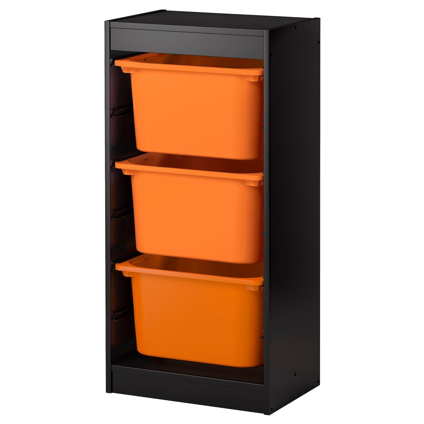 trofast combinaci n de armario y estanter a negro naranja 46 x 30 x 94 cm ikea. Black Bedroom Furniture Sets. Home Design Ideas