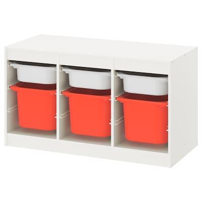 TROFAST Combinación de almacenaje con cajas, blanco blanco/naranja, 99x44x56 cm