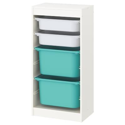 TROFAST Combinación de almacenaje con cajas, blanco/blanco turquesa, 46x30x94 cm