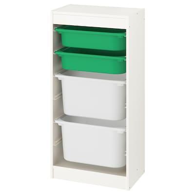 TROFAST Combinación de almacenaje con cajas, blanco/verde blanco, 46x30x94 cm