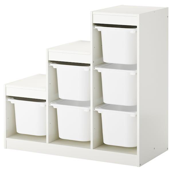 TROFAST Combinación de almacenaje con cajas, blanco, 99x44x94 cm
