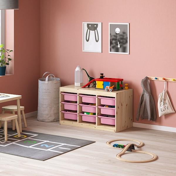 TROFAST Combinación de almacenaje con cajas, pino tte claro/rosa, 93x44x52 cm
