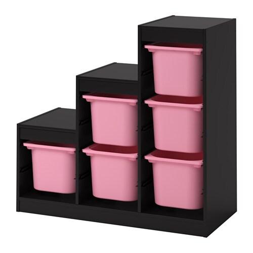 TROFAST Combinación de almacenaje con cajas - negro/rosa - IKEA