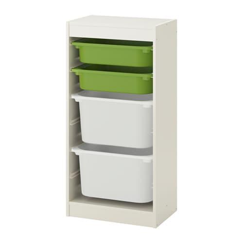Combinación de almacenaje con cajas, blanco, verde blanco