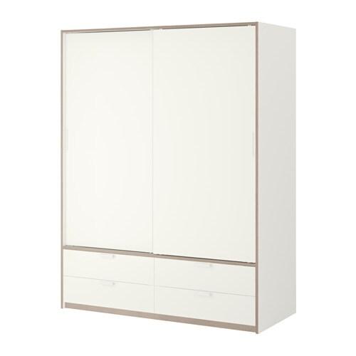 Trysil armario puerta corredera blanco gris claro ikea - Puerta armario ikea ...