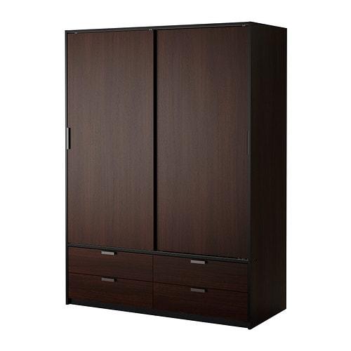 Trysil armario puerta corredera marr n oscuro negro ikea for Armario 2 puertas ikea