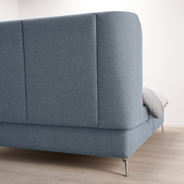 TUFJORD Cama tapizada con almacenaje, Gunnared azul, 160x200 cm