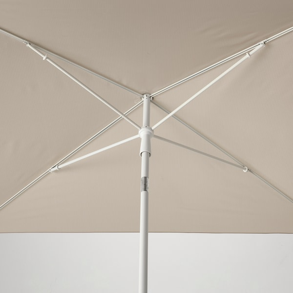 TVETÖ Sombrilla, inclinable/beige grisáceo blanco, 180x145 cm