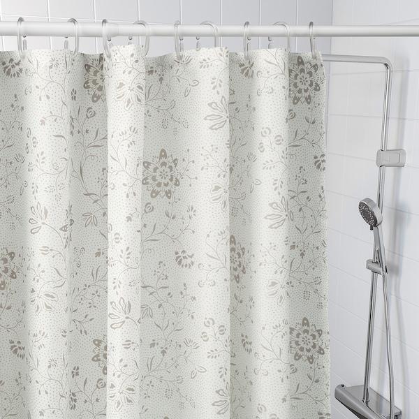 TYCKELN Cortina de ducha, blanco/beige oscuro, 180x200 cm