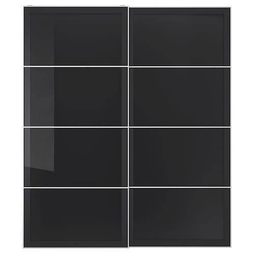 UGGDAL puertas correderas, 2 uds vidrio gris 200 cm 236 cm 8.0 cm 2.3 cm