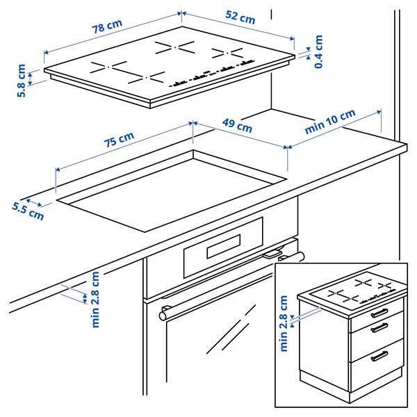 UTNÄMND Placa de inducción, IKEA 500 negro, 78 cm