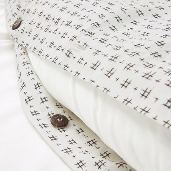 VÄGTÅG Funda nórdica y funda de almohada, blanco/marrón oscuro, 150x200/50x60 cm
