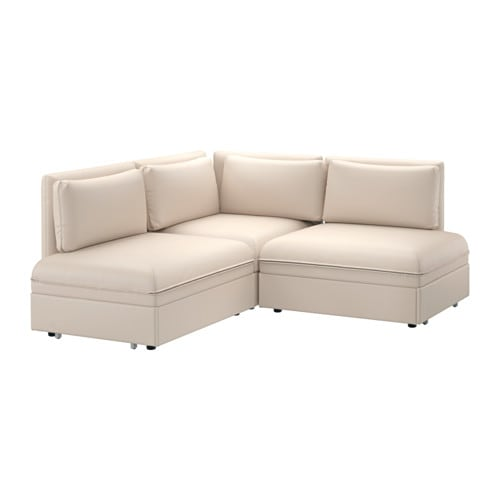 Vallentuna sof cama 3 plazas esquina murum beige ikea for Sofa cama 4 plazas