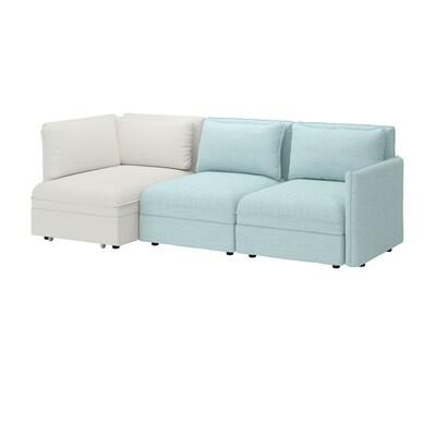 VALLENTUNA Sofá modular 3 con sofá cama, y almacenaje/Hillared/Murum azul claro/blanco
