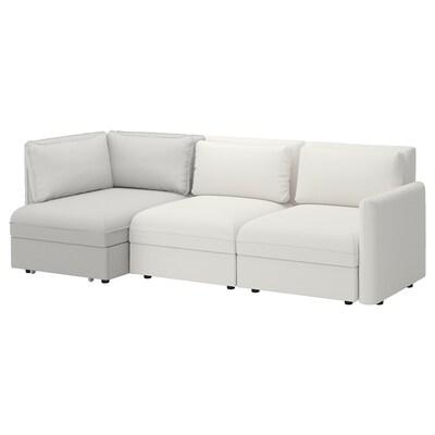 VALLENTUNA Sofá modular 3 con sofá cama, y almacenaje/Murum/Orrsta blanco/gris claro