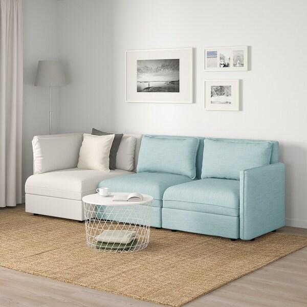 VALLENTUNA Sofá modular 3 plazas, con almacenaje/Hillared/Murum azul claro/blanco