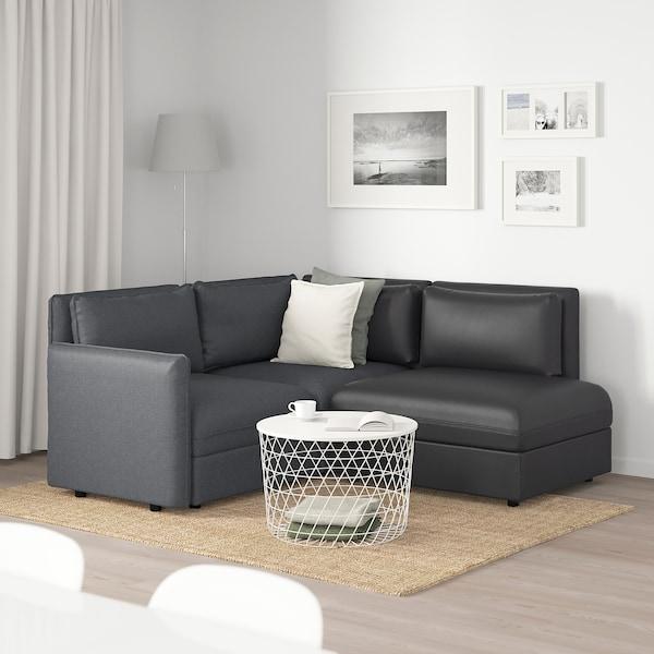 VALLENTUNA Sofá modular 3 plazas, con almacenaje/Hillared/Murum gris oscuro/negro