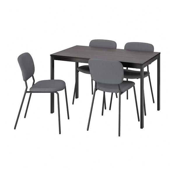VANGSTA / KARLJAN Mesa con 4 sillas, negro marrón oscuro/Kabusa gris oscuro, 120/180 cm