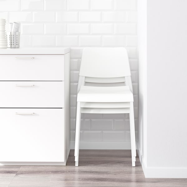 VANGSTA / TEODORES Mesa con 4 sillas, blanco/blanco, 120/180 cm