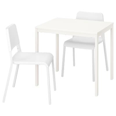 VANGSTA / TEODORES Mesa y dos sillas, blanco/blanco, 80/120 cm