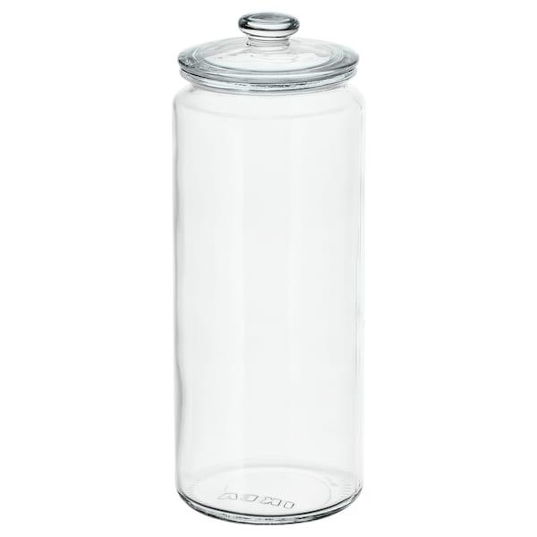 VARDAGEN Bote con tapa, vidrio incoloro, 1.8 l