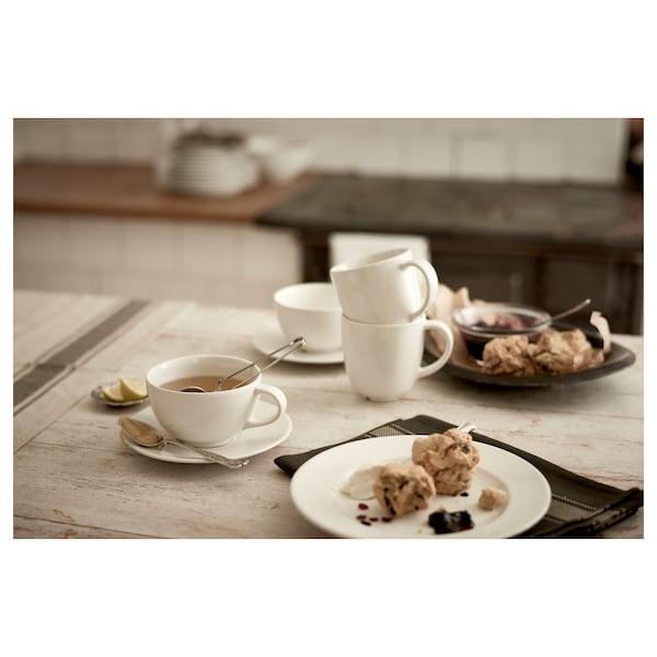VARDAGEN Taza de té con plato, hueso, 26 cl