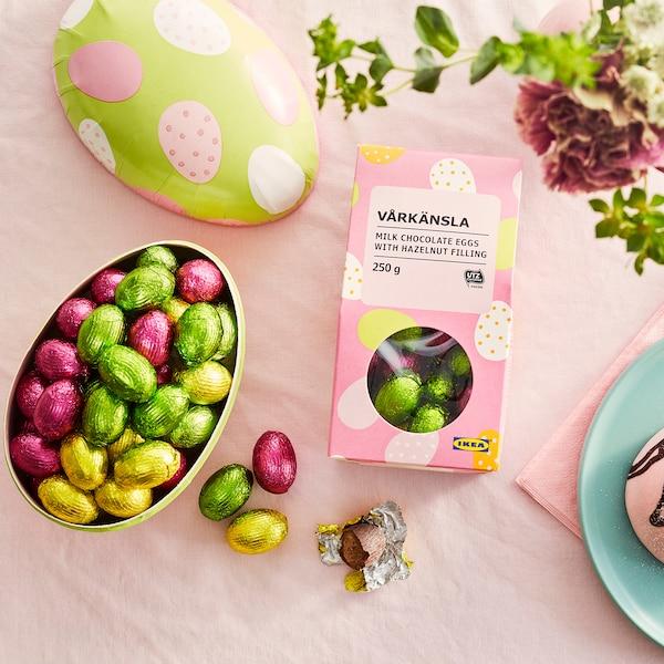 VÅRKÄNSLA Huevos chocolate/leche, relleno de avellana certificado UTZ, 250 g