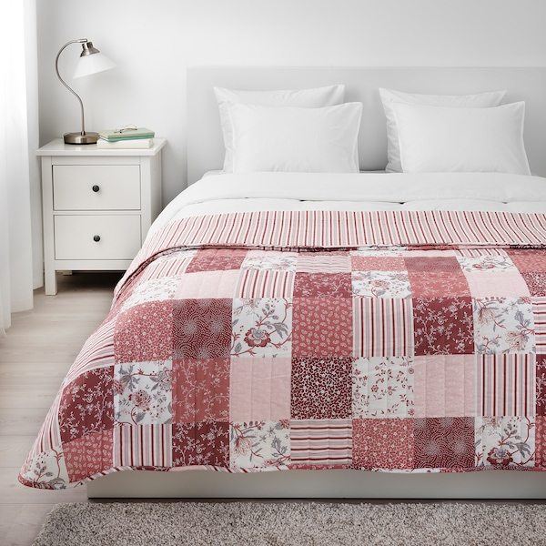 VÅRRUTA colcha blanco/rosa 250 cm 260 cm