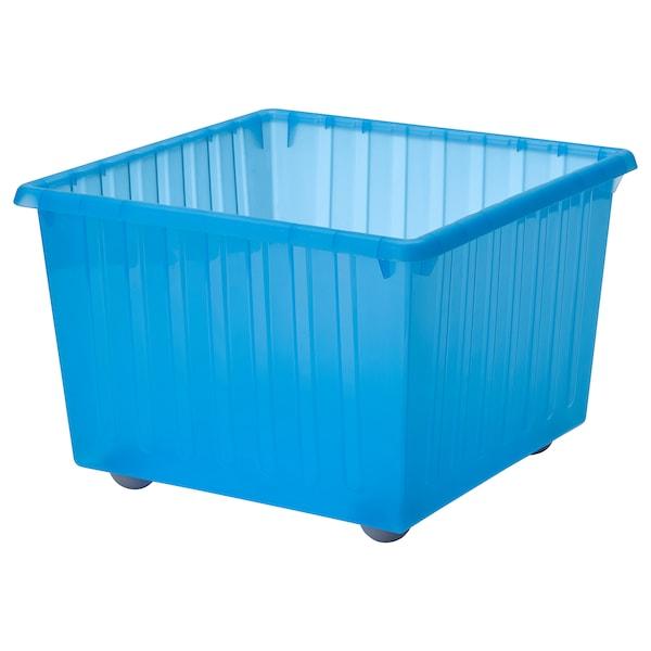 VESSLA Caja con ruedas, azul, 39x39 cm