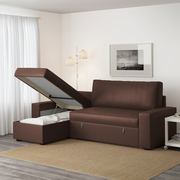 VILASUND Sofá cama con chaiselongue, Borred marrón oscuro