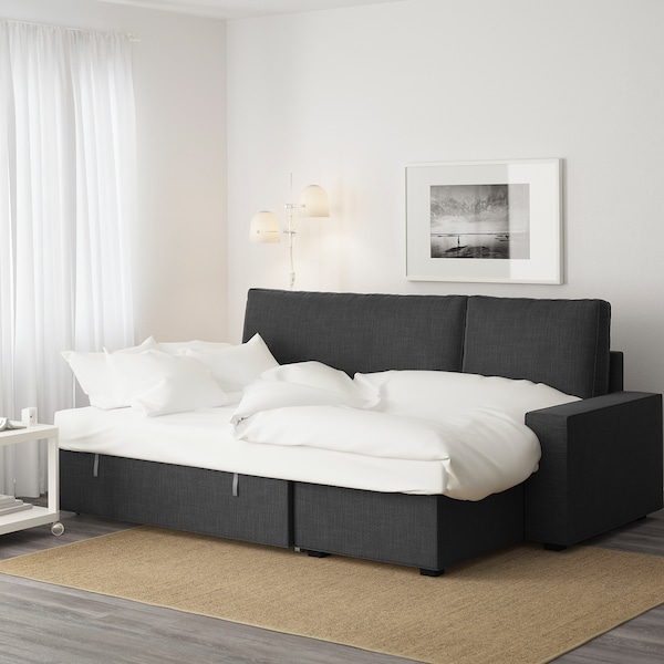 VILASUND Sofá cama con chaiselongue, Hillared antracita IKEA