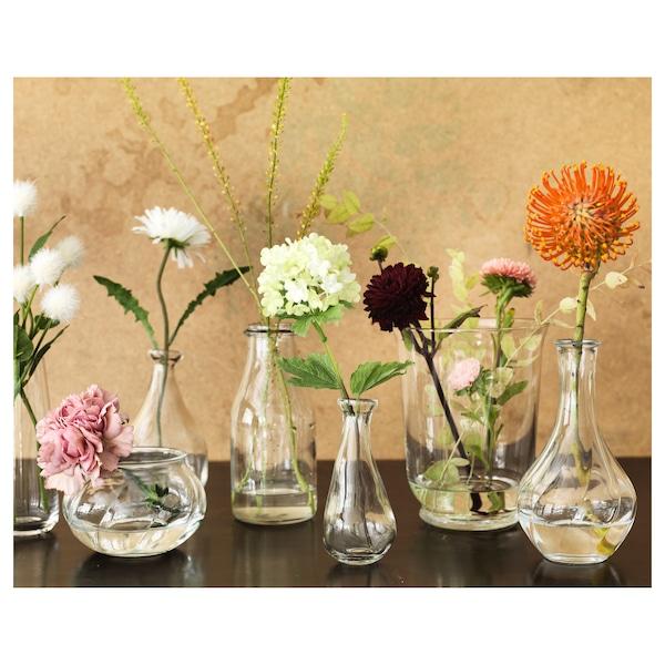 VILJESTARK Florero / jarrón, vidrio incoloro, 17 cm