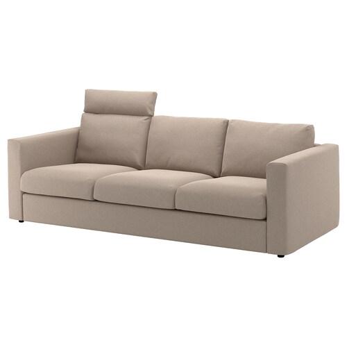 VIMLE sofá 3 plazas con reposacabezas/Tallmyra beige 103 cm 83 cm 68 cm 241 cm 98 cm 6 cm 15 cm 68 cm 211 cm 55 cm 48 cm
