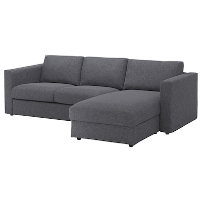 VIMLE Sofá 3 plazas, +chaiselongue/Gunnared gris